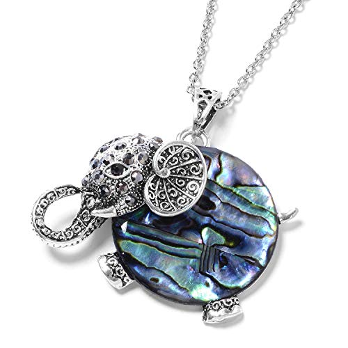 Shop LC Delivering Joy Stainless Steel Silvertone Round Black Crystal Elephant Pendant Necklace for Women 20