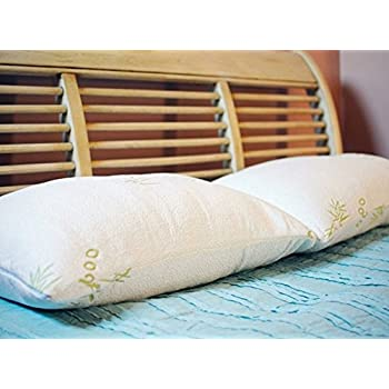 Original Bamboo Shredded Memory Foam Pillow with Removable Hypoallergenic Pillow Cover Case, Queen