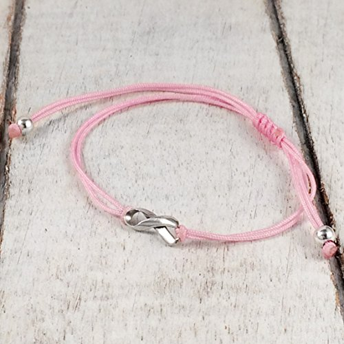 Pink, Small Sterling Silver 925 Ribbon Shaped Charm Bracelet, Breast Cancer Awareness, Friendship Support Bracelet, Adjustable Thread Cord, Handmade in Peru by Claudia - By Race Breast Size