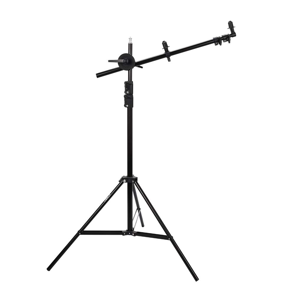 UTEBIT Reflector Holder Arm Extendable 65-174cm with 7ft Photo Light Stand Kit Heavy Duty Lighting Boom Arm Support with 360° Swivel Head for Photography Studio Shooting