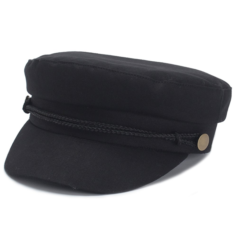 Classic Spring Summer Womens Newsboy Cap Cotton Cabbie Ivy Beret Hats for Women (Black)