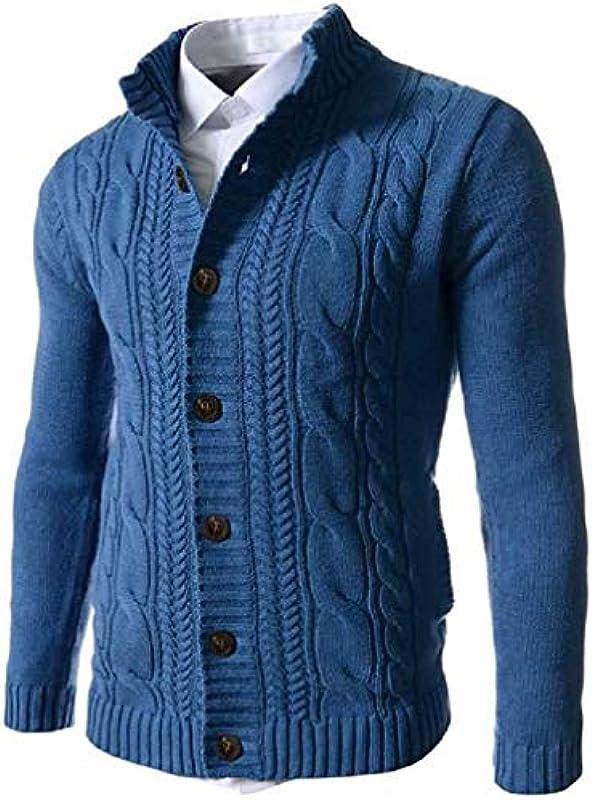 Handsome Men Winter Knitted Sweater Button Front Cardigan Coat: Odzież