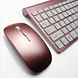 Lolipp Whisper-Quiet Ultra-thin 2.4GHz Wireless Mini keyboard Keyboard and Mouse Combo for Laptop, Desktop Computer, Smart TV - Rose Golden