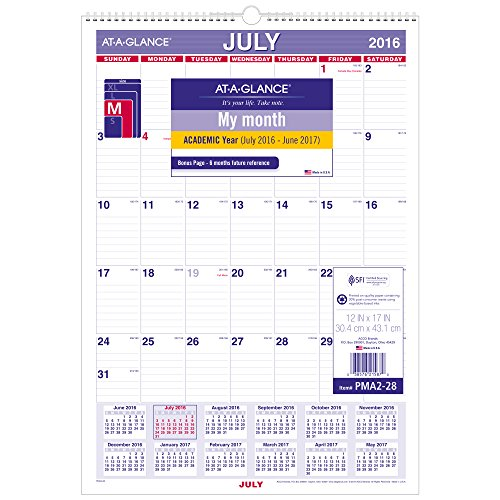 "AT-A-GLANCE Academic Year Monthly Wall Calendar, July 2016 - June 2017, 12""x17"", Wirebound (PMA228)"