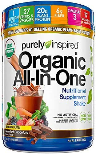 Meal Replacement Shake, Organic | Purely Inspired Meal Replacement Powder | Plant Based Protein Powder for Women & Men | Organic Protein Powder | Protein Shake Powder | Chocolate (16 Servings) 1