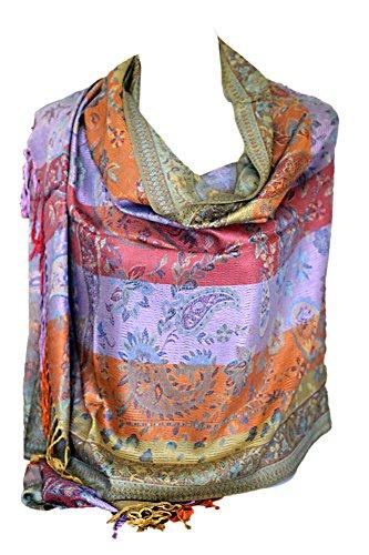 999b0902455 Beautiful Paisley Print Rainbow Colours Large Pashmina Feel Wrap Scarf  Shawl Hijab Head Scarves (Paisley