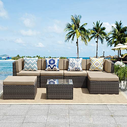 Solaste Outdoor Patio Furniture Set,7 Piece Rattan Wicker Sectional Sofa Seating - Outdoor Indoor Backyard Porch Garden Poolside Balcony (Grey) (Discount Outdoor Sectionals)