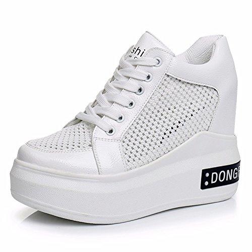 de de inferior Zapatos transpirable mujer cm blanco Verano Net Zapatos Parte Tacón 12 Interior gruesos Zapatos Casuales malla GTVERNH Mujer Zapatos Aumento Super High SUw54S