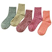 Amazon Lightning Deal 82% claimed: Pack of 5 Womens Thick Knit Warm Casual Wool Crew Winter Socks, Mixed Colors 2, One Size