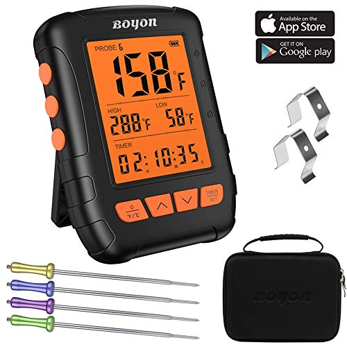 BOYON Meat Thermometer Waterproof, APP Controlled Bluetooth Thermometer with 4 Stainless Steel Probes for Kitchen Oven Smoker, Support IOS & Android (Carrying Case Included)