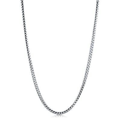 b160d0465d0d86 Amazon.com: BERRICLE Italian Rhodium Plated Sterling Silver Franco Chain  Necklace 4mm 22