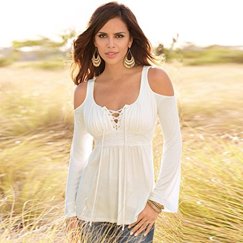 Vovotrade - Las mujeres blusa de manga larga Blanco