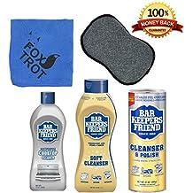Bar Keepers Friend Cleanser Trio - Mega Bundle (21 Oz Cleanser & Polish Powder | 26 Oz Liquid Soft Cleanser | 13 Oz Cooktop Cleaner) Plus 1 Foxtrot™ Microfiber Towel & 1 Microfiber Scrubber Sponge