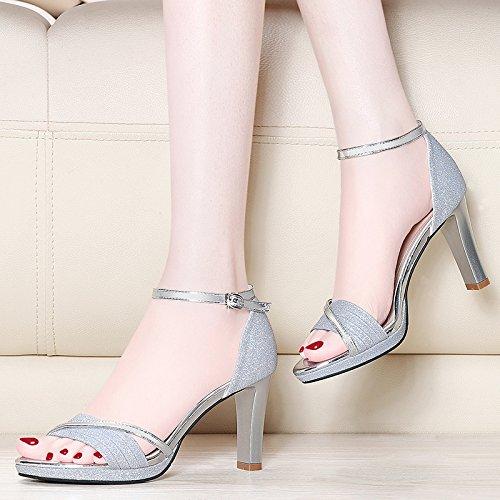 RUGAI-UE Sandalias de tacón áspero verano sandalias de damas zapatos de tacón alto silvery