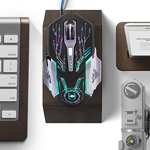 NORMIA RITA USB Wired Optical Gaming Mouse 7200DPI with Side Buttons 7 Colors Breathing LED Light 7 Buttons Ergonomic Mouse for MMO FPS