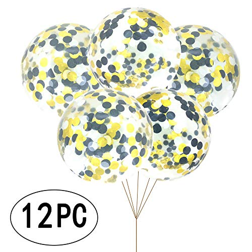 AKIO CRAFT 18 inch Black and Gold Round Confetti Balloons Graduation Giant Clear Latex Helium Balloons Confetti Balloons Wedding Favors Baby Shower Birthday Party Decorations -