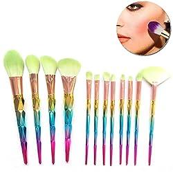 Sunroyal Unicorn Makeup Brushes,Colorful Rainbow Foundation Highlighter Brush Eyeshadow Professional Makeup Brush Set(12 Pcs)