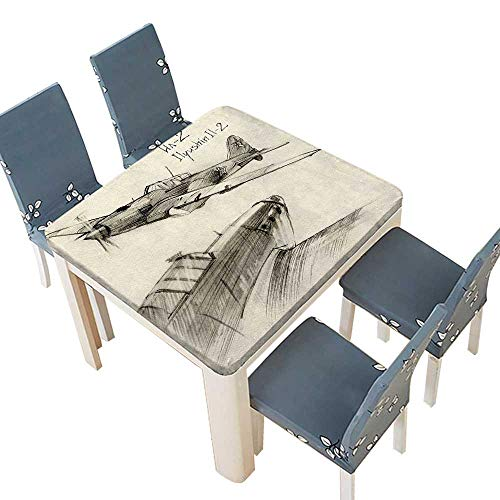 PINAFORE Solid Tablecloth Hand Drawn Series Soviet Military Enginery Jets Flights World War Aviation Sketch Table Cover 49 x 49 INCH (Elastic Edge) - Series French Classic Pool