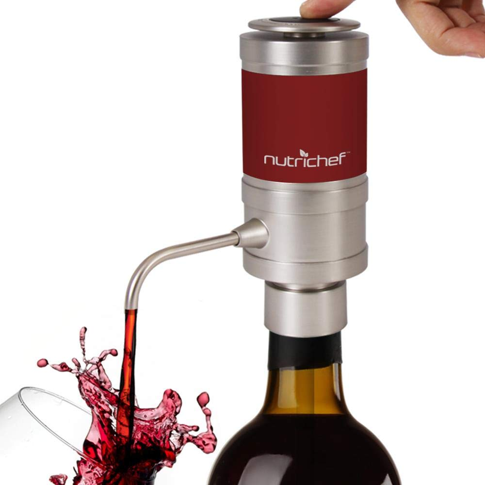 Electric Wine Aerator Dispenser Pump - Portable and Automatic Bottle Breather Tap Machine - Air Decanter Diffuser System for Red and White Wine w/ Unique Metal Pourer Spout - NutriChef PSLWPMP50 by Nutrichef
