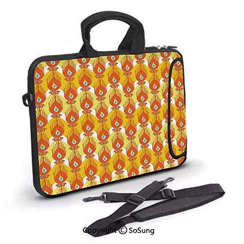 15 inch Laptop Case,Colorful Exotic Fantastic Ikat Style Shapes Patterns Traditional Asian Indigenous Neoprene Laptop Shoulder Bag Sleeve Case with Handle and Carrying & External Side Pocket,for Netbo (Cute Asian Shoulder Bags)