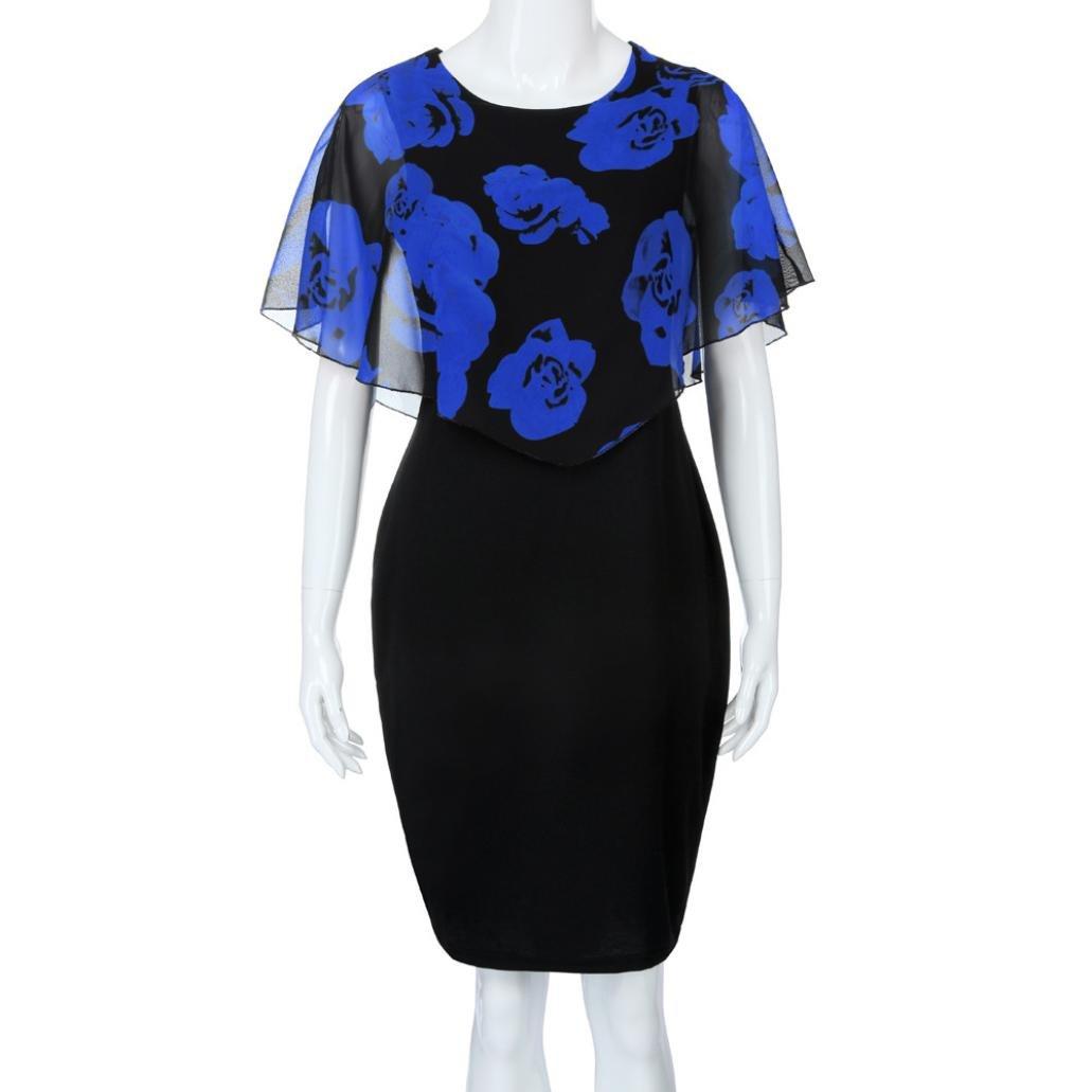 Anglewolf Fashion Womens Plus Size Rose Print Chiffon O Neck Ruffles Mini Dress Butterfly Sleeve Draped Straight Dress Elegant Party Evening Dress