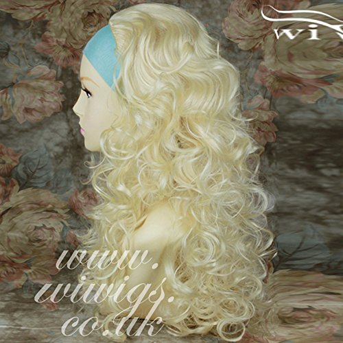 Natural Looking Curly Platinum Blonde Long 3/4 half Wig Fall Hair extension Wiwigs