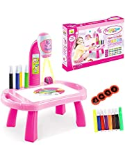 Child Learning Desk with Smart Projector, Kids Educational Painting Table with Light Music Children Projection Drawing Playset Table, Birthday Gift for Kids Boys Girls (B-Pink, One Size)