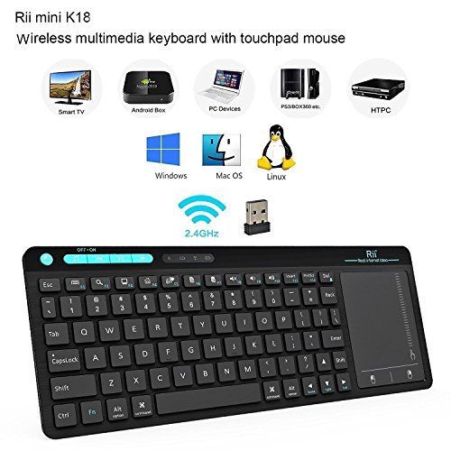 Rii K18 Wireless Keyboard with Build-in Large Size Touchpad Mouse, Rechargable Li-ion Battery, for PC,Google Smart TV,KODI,Raspberry Pi2/3, HTPC IPTV,Android Box,XBMC,Windows 2000 XP Vista 8 10