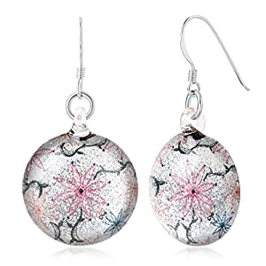 Sterling Silver Hand Blown Glass Colorful Flowers on White Glitter Round Dangle Earrings for Women