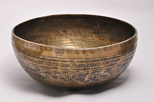 12 Inches Hand Hammered Painted Tibetan Meditation Singing Bowl with Striker - Markings Crystal Bowls