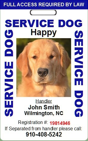 Custom Service Dog ID Card (Blue) by GreenBio ID's