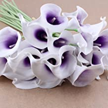 Nsstar Beautiful Artificial Calla Lily Bridal Wedding Bouquet Artificial Bouquet (10pcs (White Flower+Purple core))
