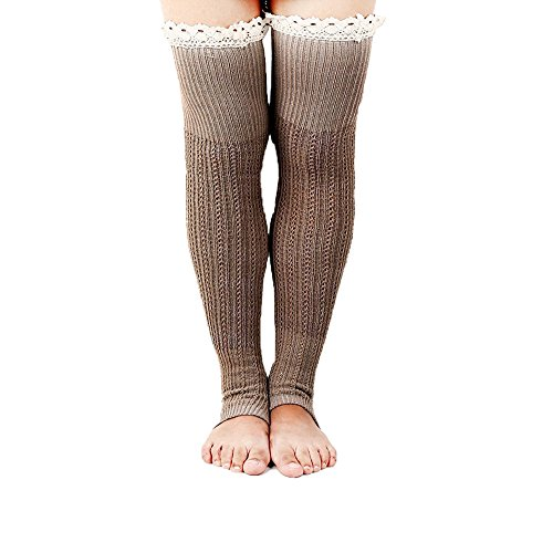 Fever Socks - Spring Fever Crochet Lace Trim Cotton Knit Leg Warmers Boot Socks, Khaki