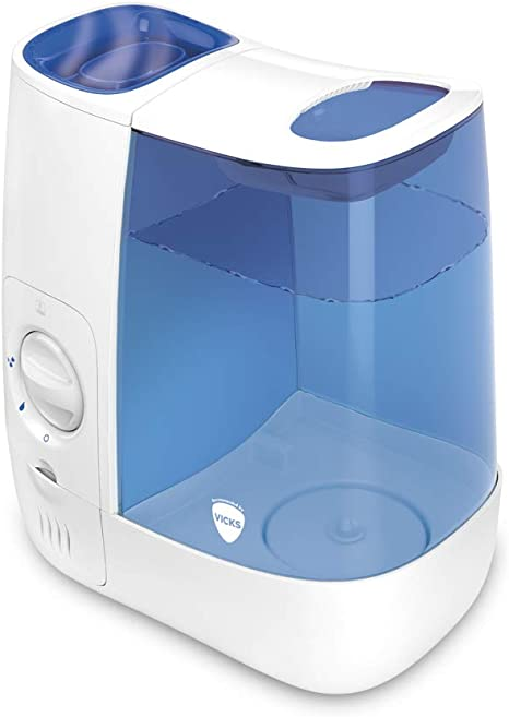Vicks Warm Mist Humidifier for Home use and Child's Nursery, BlueWhite VH845E1