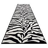 zebra decor for kitchen - Runner Rug 3x10 Hallway Zebra Print Kitchen Rugs and mats | Rubber Backed Non Skid Living Room Bathroom Nursery Home Decor Under Door Entryway Floor Non Slip Washable | Made in Europe