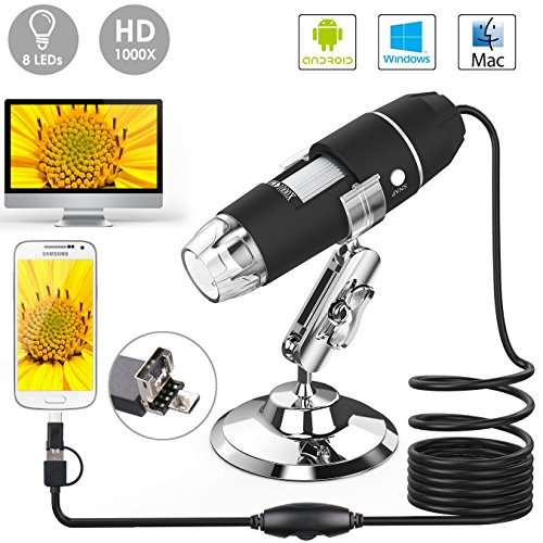 USB Microscope, Splaks 1000x High Power USB Digital Microscope 3 in 1 Digital Microscope with 8 Led Lights and Microscope Stand Compatible With Windows, Android and Mac