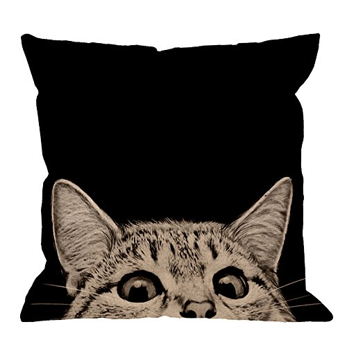 HGOD DESIGNS Black Cat Pillows Decorative Cute Cat Watching on Black Backgroud Cotton Linen Throw Pillow Case Square Cushion Cover Pillowcase for Men Women Kids 18 x 18 inch