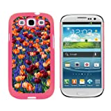 Graphics and More Field of Tulips and Blue Flowers - Snap On Hard Protective Case for Samsung Galaxy S3 - Pink