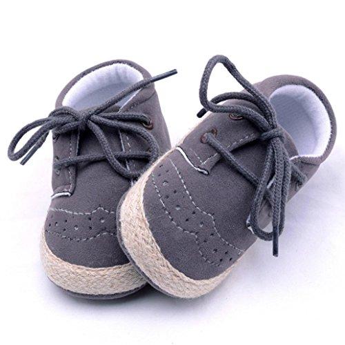 Tefamore Los zapatos infantiles recién nacidos del pesebre de los muchachos de las muchachas calzan los zapatos antideslizantes suaves de las zapatillas Gris oscuro