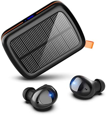 Hallomall Wireless Earbuds Solar, 160hrs Playtime Hi-Fi Stereo Bluetooth 5.0 Headphones with Solar & USB-C Fast Charging Case CVC8.0 Noise Cancelling Mic Waterproof Touch Control Earphones for Sports