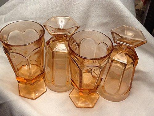 Set of 4 Vintage Pink Depression Glass Goblets/ice cream Sundae Glasses Vintage Marigold Carnival Glass