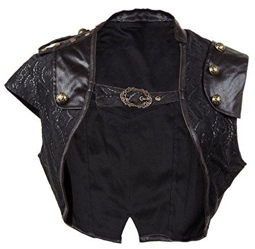 - Modern current 1982 Women Retro Black Leather Steampunk Jacket Burlesque Victorian Gothic Bolero 21675-Black-2XL