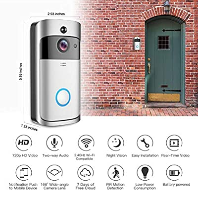 WiFi Wireless Video Doorbell,Smart Door Bells Home Security Bell Camera Real-Time Video and 180° Wide Angle Lens Two-Way Talk Night Vision PIR Motion Detection