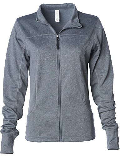 Global Women's Slim Fit Lightweight Full Zip Yoga Workout Jacket XS Gunmetal Heather by Global Blank