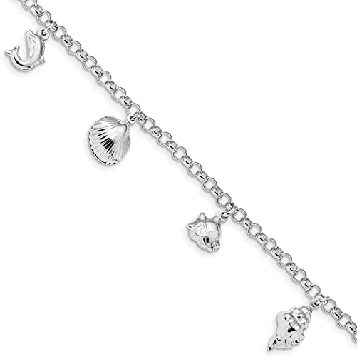Best Designer Jewelry Sterling Silver Rhodium Plated Beach Theme Charm Bracelet