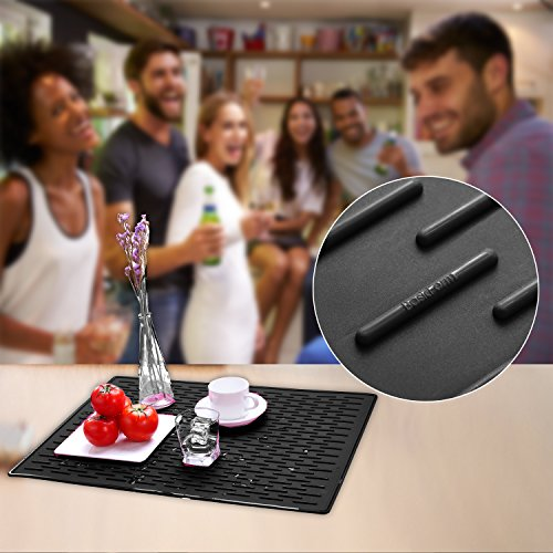 BasicForm XXL Silicone Drying Mat For Kitchen Countertop 22