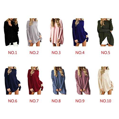 Minzhi Pullover a maniche lunghe con scollo tondo a manica lunga color puro per donna