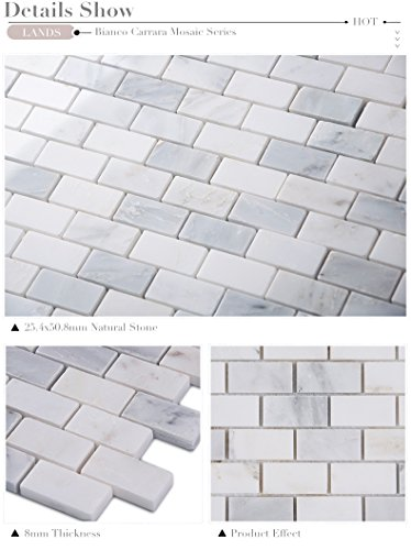 Carrara White Italian Carrera Marble Strip Kitchen Backsplash Mosaic