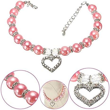 KAILLEET Collar de Perlas de Gatos Collar del Animal doméstico del ...