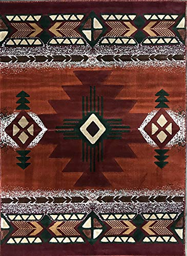 Southwest Terra Cotta - Concord Global Trading South West Native American Area Rug Rust Burgundy Beige Green Design C318 (5 Feet 2 Inch X 7 Feet)